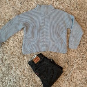Baby blue top shop sweater